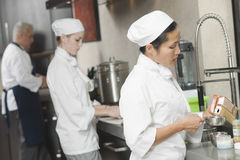Chefs Working Together In Commercial Kitchen Royalty Free Stock Images