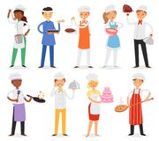 Chefvektorkochcharakterfrau oder -mann, die Lebensmittelgericht auf Küche des Restaurantillustrationssatzes des Fachmannes kochen Stockfoto