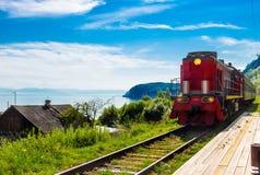Chegada da locomotiva na plataforma Imagem de Stock Royalty Free