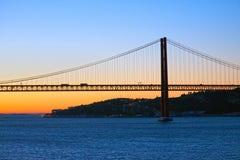Chegada do amanhecer em Lisboa imagem de stock