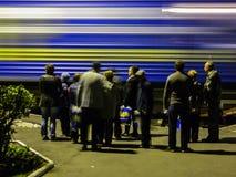 A chegada do trem da campanha do partido democrático liberal do russo Imagem de Stock Royalty Free