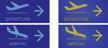Chegada e partida, sinais navegacionais do aeroporto Foto de Stock