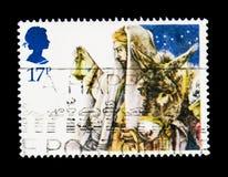 Chegada em Bethlehem, serie 1984 do Natal, cerca de 1984 Foto de Stock Royalty Free