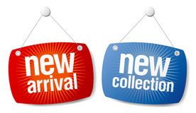 Chegada nova, sinais novos da coleção. ilustração stock
