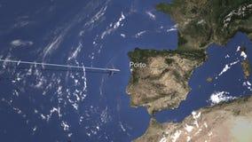 Chegada plana a Porto, Portugal do oeste, rendição 3D ilustração royalty free