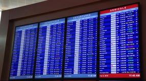 Chegadas e partidas dos voos em Dallas imagem de stock