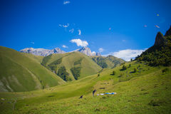 Chegem. Training base for paragliding in the Elbrus region Royalty Free Stock Photo