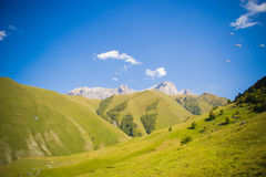 Chegem. Training base for paragliding in the Elbrus region Royalty Free Stock Photos