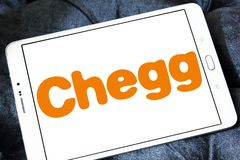 Chegg education technology company logo. Logo of Chegg company on samsung tablet. Chegg, Inc. is an American education technology company specialize in online stock photography