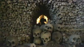 CHEH REPUBLIC, KUTNA GORA - 15 JENUARY 2017: The famous ossuary, the church that stands on the bones, where all the. Walls are decorated with skulls stock video