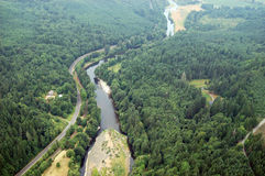 Chehalis River, Washington state. Washington state farmland is abundant in the region's many river valleys Stock Images