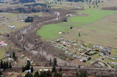 Chehalis River, Washington state. Washington state farmland is abundant in the region's many river valleys stock photography