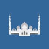 Cheik Zayed Grand Mosque en Abu Dhabi Silhoue plat de signe de vecteur Image libre de droits