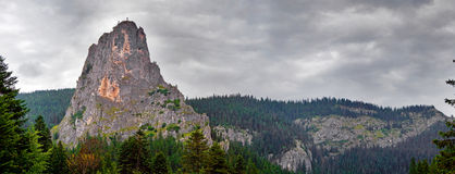 Cheile Bicaz panoramic view. Panoramic view from the road to Cheile Bicaz, Romania taken on a cloudy weather Royalty Free Stock Images