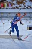 Cheile Gradistei,罗马尼亚- 1月24 :在IBU Youth&Junior世界冠军两项竞赛第24的未知的竞争者 图库摄影