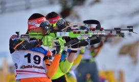 Cheile Gradistei, Roamania - 1月24 :在IBU Youth&Junior世界冠军两项竞赛的未知的竞争者2016年1月第24 免版税库存图片