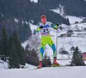 Cheile Gradistei, Roamania - 1月24 :在IBU Youth&Junior世界冠军两项竞赛的未知的竞争者2016年1月第24 库存图片