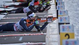Cheile Gradistei, Roamania - 1月24 :在IBU Youth&Junior世界冠军两项竞赛的未知的竞争者2016年1月第24 免版税库存照片