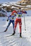 Cheile Gradistei, Roamania - 30-ое января: Неизвестный конкурент в биатлоне чемпионатов мира IBU Youth&Junior стоковое фото rf