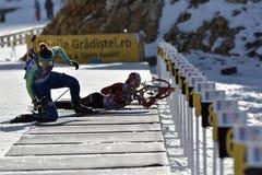 Cheile Gradistei, Roamania - 30-ое января: Неизвестный конкурент в биатлоне чемпионатов мира IBU Youth&Junior стоковое изображение