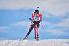 Cheile Gradistei, Roamania - 30 de enero: Competidor desconocido en IBU Youth& Junior World Championships Biathlon 24to Fotografía de archivo