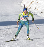Cheile Gradistei, Roamania - 30 de enero: Competidor desconocido en IBU Youth& Junior World Championships Biathlon 24to de enero  Fotos de archivo