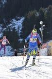 Cheile Gradistei, Roamania - 30 de janeiro: Concorrente desconhecido em IBU Youth& Junior World Championships Biathlon Imagem de Stock Royalty Free