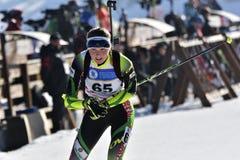 Cheile Gradistei, Roamania - 30 de janeiro: Concorrente desconhecido em IBU Youth& Junior World Championships Biathlon Fotografia de Stock Royalty Free