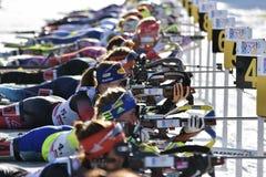 Cheile Gradistei, Roamania - 30 de janeiro: Concorrente desconhecido em IBU Youth& Junior World Championships Biathlon Imagens de Stock