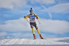 Cheile Gradistei, Roamania - 30 gennaio: Concorrente sconosciuto in IBU Youth& Junior World Championships Biathlon ventiquattresi Fotografie Stock