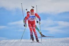 Cheile Gradistei, Roamania - 30 gennaio: Concorrente sconosciuto in IBU Youth& Junior World Championships Biathlon ventiquattresi Immagini Stock Libere da Diritti