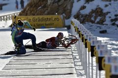 Cheile Gradistei, Roamania - 30. Januar: Unbekannter Konkurrent in IBU Youth& Junior World Championships Biathlon stockbild