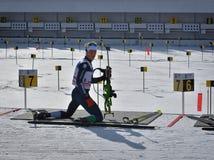 Cheile Gradistei, Roamania - 24. Januar: Unbekannter Konkurrent in IBU Youth& Junior World Championships Biathlon 24. vom Januar  Lizenzfreies Stockfoto