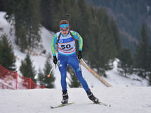 Cheile Gradistei, Roamania - 24. Januar: Unbekannter Konkurrent in IBU Youth& Junior World Championships Biathlon 24. vom Januar  Stockfotos
