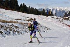 Cheile Gradistei, Roamania - Januari 30: Onbekende concurrent in IBU Youth& Junior World Championships Biathlon Stock Foto