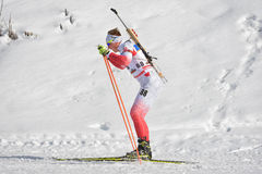 Cheile Gradistei, Roamania - Januari 30: Onbekende concurrent in IBU Youth& Junior World Championships Biathlon vierentwintigste Stock Fotografie