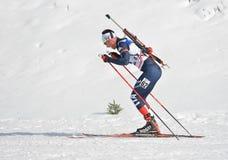 Cheile Gradistei, Roamania - Januari 24: Onbekende concurrent in IBU Youth& Junior World Championships Biathlon vierentwintigste  royalty-vrije stock fotografie