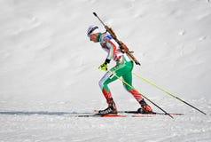Cheile Gradistei, Roamania - Januari 24: Onbekende concurrent in IBU Youth& Junior World Championships Biathlon vierentwintigste  royalty-vrije stock afbeeldingen