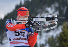 Cheile Gradistei, Roamania - Januari 24: Onbekende concurrent in IBU Youth& Junior World Championships Biathlon vierentwintigste  royalty-vrije stock foto's