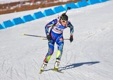 Cheile Gradistei, Roamania - Januari 30: Onbekende concurrent in IBU Youth& Junior World Championships Biathlon vierentwintigste  Stock Foto