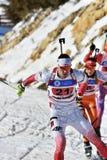 Cheile Gradistei Roamania - 30 Januari: Onbekende concurrent in IBU Youth& Junior World Championships Biathlon vierentwintigste v Stock Fotografie