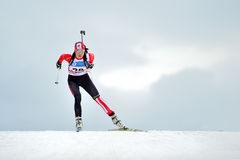 Cheile Gradistei, Roamania - January 31: Unknown competitor in I. BU Youth&Junior World Championships Biathlon 24th of January 2016 to 02 February 2016, in Royalty Free Stock Photos