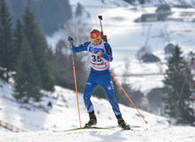 Cheile Gradistei, Roamania - January 28: Unknown competitor in IBU Youth&Junior World Championships Biathlon Romania Royalty Free Stock Photography