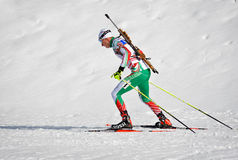 Cheile Gradistei, Roamania - January 24: Unknown competitor in IBU Youth&Junior World Championships Biathlon 24th of January 2016. Cheile Gradistei, Roamania Royalty Free Stock Images