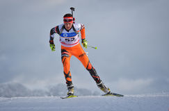 Cheile Gradistei, Roamania - January 24: Unknown competitor in IBU Youth&Junior World Championships Biathlon 24th of January 2016. Cheile Gradistei, Roamania Stock Image