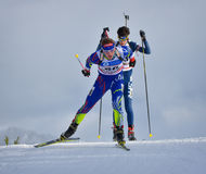 Cheile Gradistei, Roamania - January 24: Unknown competitor in IBU Youth&Junior World Championships Biathlon 24th of January 2016. Cheile Gradistei, Roamania Royalty Free Stock Photography