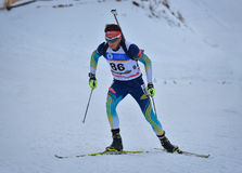 Cheile Gradistei, Roamania - January 24: Unknown competitor in IBU Youth&Junior World Championships Biathlon 24th of January 2016 Royalty Free Stock Photos