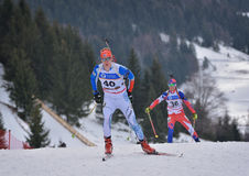 Cheile Gradistei, Roamania - January 24: Unknown competitor in IBU Youth&Junior World Championships Biathlon 24th of January 2016. Cheile Gradistei, Roamania Stock Photo