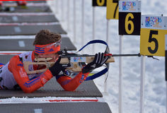 Cheile Gradistei, Roamania - January 24: Unknown competitor in IBU Youth&Junior World Championships Biathlon 24th of January 2016. Cheile Gradistei, Roamania Stock Images