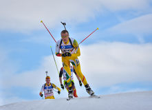 Cheile Gradistei, Roamania - January 28: Unknown competitor in IBU Youth&Junior World Championships Biathlon 24th of January 2016 Royalty Free Stock Images